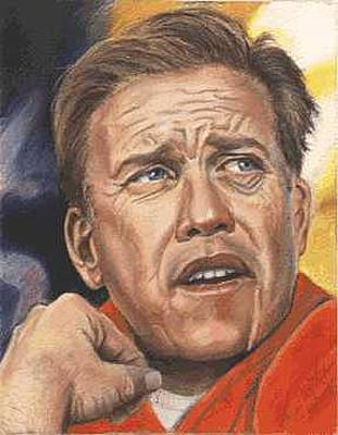 John Elway Painting - The Duke Of Denver - John Elway by Kenneth Kelsoe