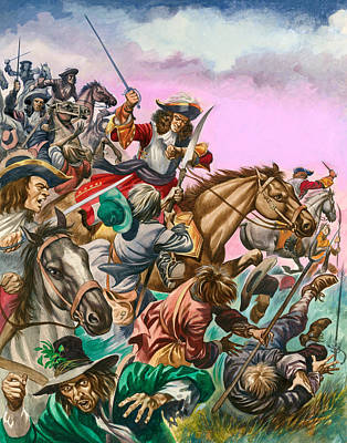 The Duke Of Monmouth At The Battle Of Sedgemoor Art Print by Peter Jackson