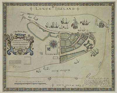 Art Print featuring the photograph The Dukes Plan A Description Of The Town Of Mannados Or New Amsterdam 1664 by Duncan Pearson
