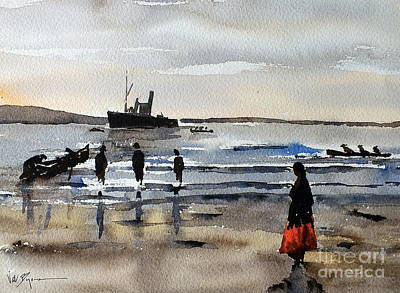 Painting - The Dun Aengus Off Aran, Galway by Val Byrne