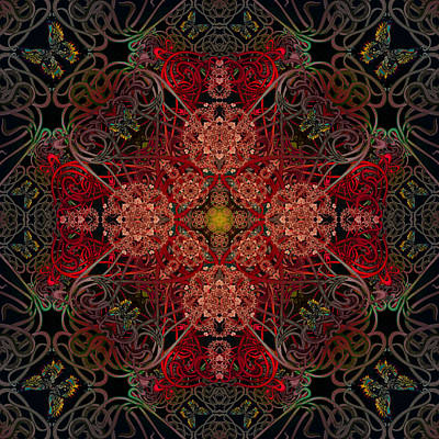 Digital Art - The Dust In The Garden Reds by Deborah Runham