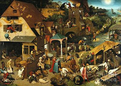 Proverbs Painting - The Dutch Proverbs by Peter Brueghel the Elder