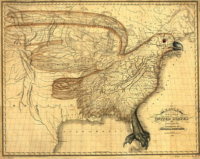 Wings Of A Bird Painting - The Eagle Map Of The United States  by Carey and Hart