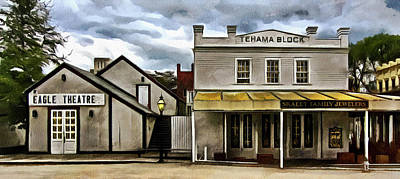 Print featuring the photograph The Eagle Theater And Skalet Family Jewelers Old Sacramento by Thom Zehrfeld