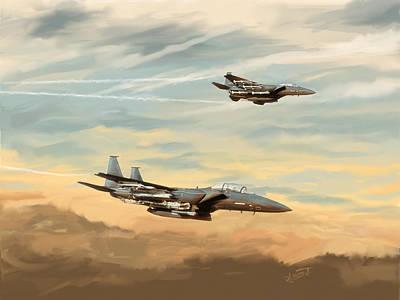 Digital Art - The Eagles Descend by Dave Luebbert