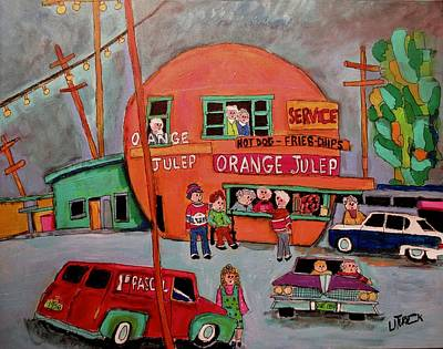 Decarie Painting - The Early Orange Julep Montreal by Michael Litvack