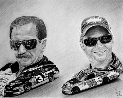 Sport Car Drawing - The Earnhardts by Bobby Shaw