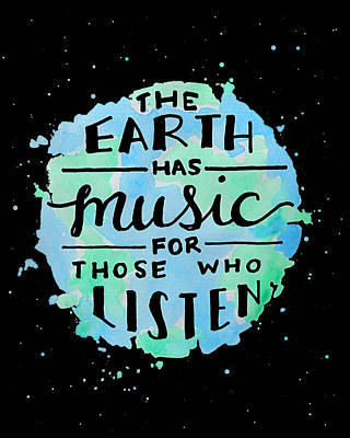 Earth Music Digital Art - The Earth Has Music Black by Michelle Eshleman