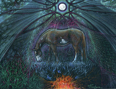 Visionary Drawing - The Earth Horse by Tatiana Kiselyova