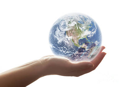 Planet Photograph - The Earth Shines In Woman's Hand. Concepts Of Save The World, Environment Etc. by Michal Bednarek