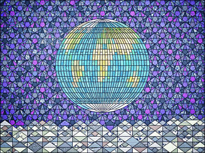 Digital Art - The Earthrise Stained Glass Window by Frans Blok