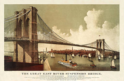 By Currier And Ives Painting - The East River by MotionAge Designs