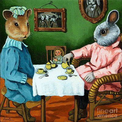 Hamster Painting - The Easter Tea Party by Linda Apple