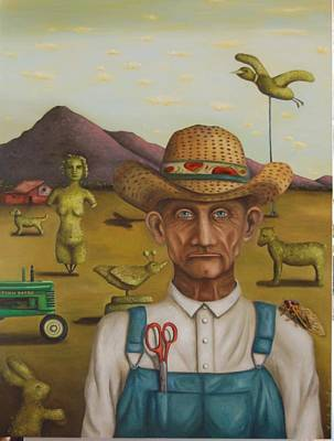 Grant Wood Painting - The Eccentric Farmer by Leah Saulnier The Painting Maniac