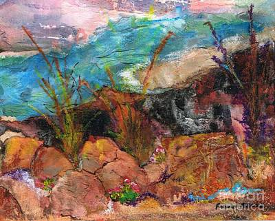 Desert Flower Painting - The Edge Of The Cliff by Frances Marino