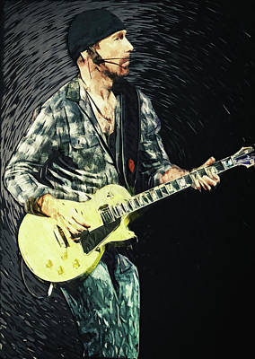 Rock Guitar Edge Digital Art - The Edge by Taylan Apukovska