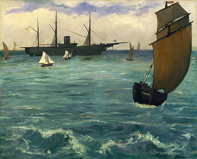 Boating Painting - The Kearsarge At Boulogne by Edouard Manet