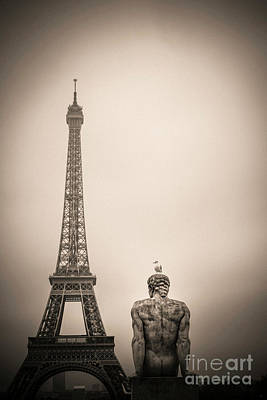 The Eiffel Tower And The L'homme The Man Statue By Pierre Traverse Paris. France. Europe. Art Print