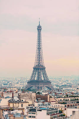 The Eiffel Tower At Sunset From The L'arc De Triomph Paris France Art Print by Maggie McCall