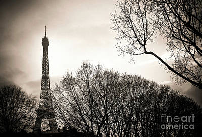 The Eiffel Tower In Backlighting. Paris. France. Europe. Art Print