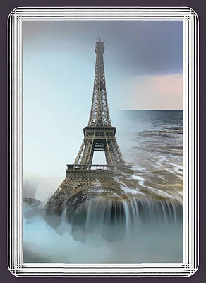 Mixed Media - The Eiffel Tower In Montage by Clive Littin