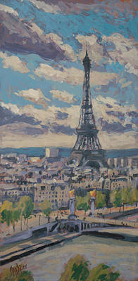 Painting - The Eiffel Tower Paris by Nop Briex