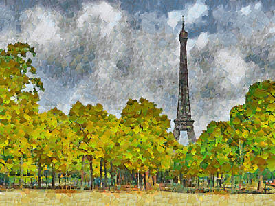 Digital Art - The Eiffel Tower Viewed From Place Jacques Rueff by Digital Photographic Arts