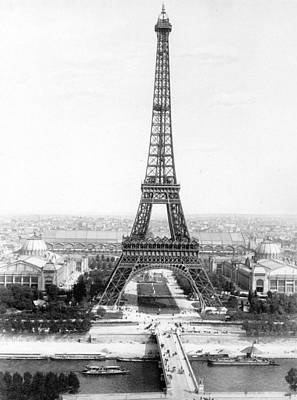 The Eiffel Tower Photograph - The Eiffel Tower With A View Of Paris by French School
