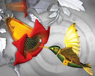 Trumpet Digital Art - The Electric Hummingbird by Vanessa Bates
