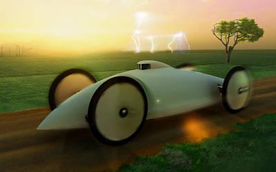 Reconstruction Digital Art - Record Car Baker Electric Torpedo 1902 by Leone M Jennarelli