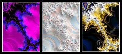 Digital Art - The Elements Triptych Fractal Abstract by Rose Santuci-Sofranko