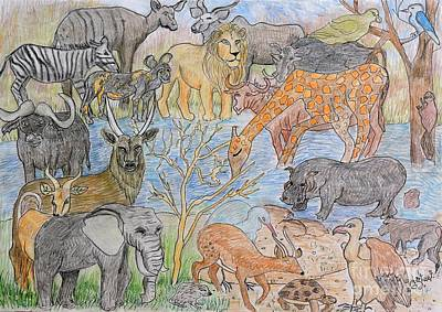 Painting - The Elephant, Giraffe, Hippo And Lots Of Buck Too. by Caroline Street
