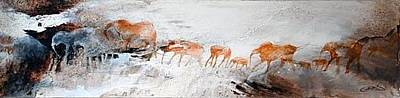 Rock Art Painting - The Elephant Procession by Ingrid  Albrecht