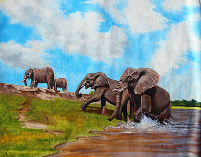 Painting - The Elephants Rise by Richard Kimenia
