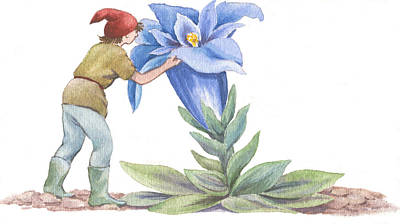 Painting - The Elfin Gardener by Maureen Carter
