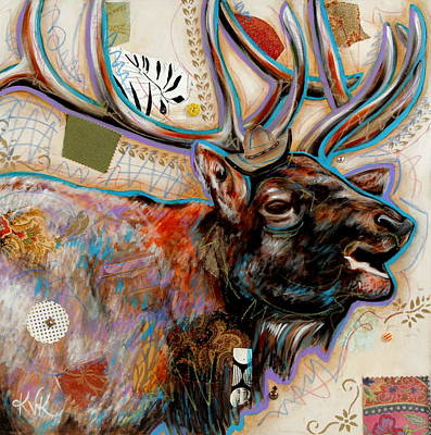 Mixed Media - The Elk by Katia Von Kral