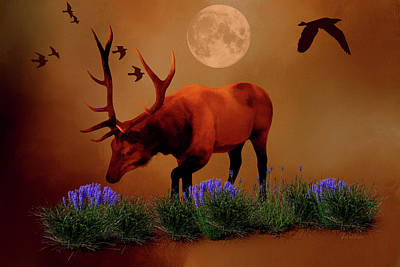 Digital Art - The Elk On A Moonlit Night by Ericamaxine Price
