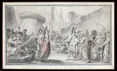 Drawing - The Embarkation Of Louis Ix From Aigues-mortes by Jacques Gamelin