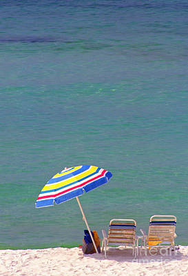 The Emerald Coast With Beach Chairs Art Print by Thomas R Fletcher
