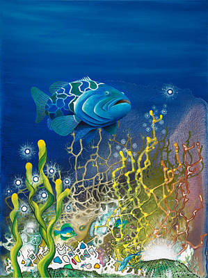 Angel Mermaids Ocean Painting - The Emerald Grouper by Lee Pantas