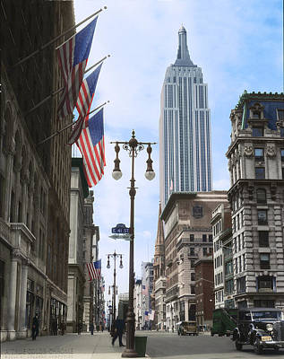 Nyc Digital Art - The Empire State, 1933 by Deborah J Humphries