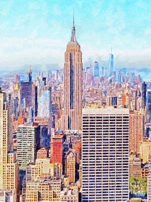 Photograph - The Empire State Building And The Manhattan New York Skyline 20180508 by Wingsdomain Art and Photography