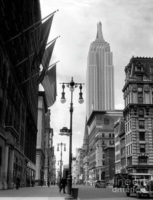 New York City Skyline Photograph - The Empire State Building Circa 1933 by Jon Neidert