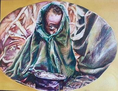 Humanitarian Mixed Media - Observant Suffering by Michael African Visions