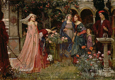 Fountain Painting - The Enchanted Garden by John William Waterhouse