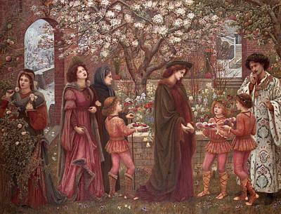 Pre-20th Painting - The Enchanted Garden Of Messer Ansaldo by Marie Spartali Stillman