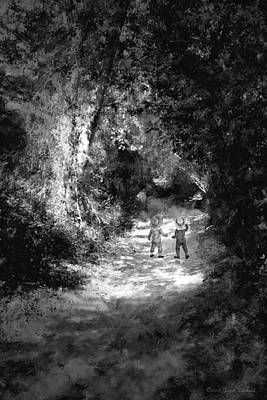Photograph - The Enchanted Path Impressionism Two B And W by Joyce Dickens