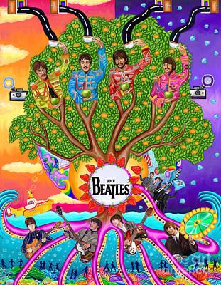 Trippy Digital Art - The Enchanting Branching Beatles by Deborah Camp