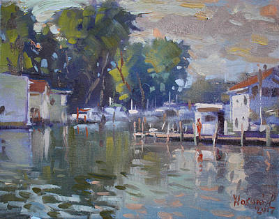 Reflection Painting - The End Of A Beautiful Day By The Boat Houses by Ylli Haruni