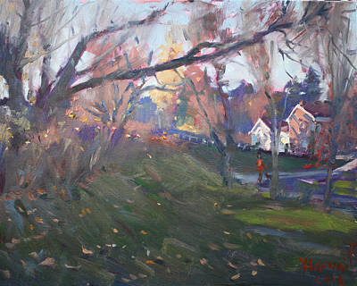 Ladies Painting - The End Of Autumn Day In Glen Williams On by Ylli Haruni